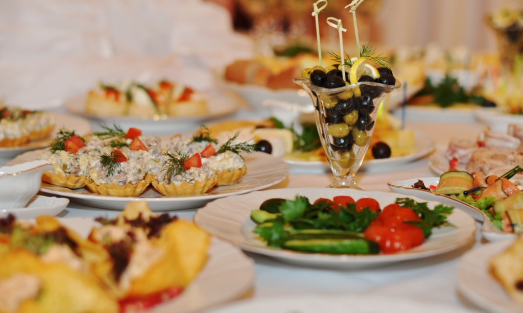 <Food in Restaurants and banquet halls of the Nicholas Palace in St. Petersburgn